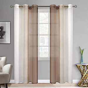 BGment Ombre Sheer Curtains Faux Linen Grommet Light Filtering Semi Sheer Gradient Window Curtain Pair for Bedroom Living Room, Set of 2 Panels (Each 42 x 84 Inch, Light Brown)