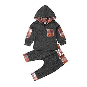 Infant Newborn Baby Boy Girl Camouflage Hoodie Pants Outfit Clothing Set Winter Warm Clothes (Coffee Plaid, 2-3T)