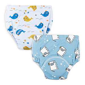 Baby Toddler 2 Pack Cotton Training Pants Toddler Potty Training Underwear for Boy and Girl 12M,2T,3T,4T (2T, Blue)