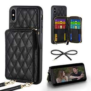 LAMEEKU Wallet Case Compatible with iPhone Xs Max, Quilted Wallet Case for iPhone Xs Max Card Holder Case with Crossbody Lanyard Handbag Case for Women Protective Case for iPhone Xs Max,6.5''-Black