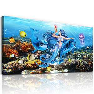 Wall Decorations For Bedroom Canvas Wall Art For Living Room Modern Fashion Bathroom Wall Decor Canvas Paintings Art Blue Ocean Mermaid Wall Pictures Girls Room Wall Artwork Large Size Family Decor