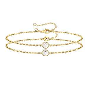 Dainty Layered Bracelets for Women, 14K Gold Filled Cute Layering Cubic Zirconia Chain Bracelet Handmade Gold Layered Chain Bracelets for Women Jewelry(2 CZ Chain)