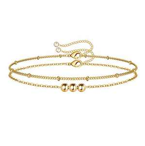 Dainty Layered Bracelets for Women, 14K Gold Filled Tiny Layering Bead Bracelet Cute 3 Gold Beads Layered Chain Bracelets Jewelry for Women Gifts(Three Gold Beads & Bead Chain)