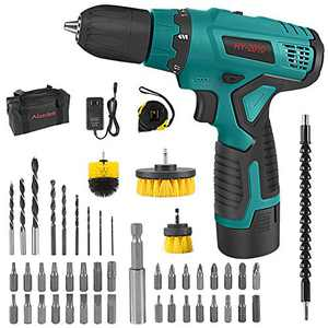 Abeden Cordless Drill/Driver Kit with 2.0Ah Lithium Battery and Charger,12V Power Drill Tool Set,17+1 Torque Setting,280 In-lb Torque,3/8'' Keyless Chuck,Wood Bricks Walls Metal
