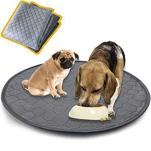 """Washable Pet Bed Mat,Reusable Dog Pee Pads Playpen Mat 48"""" Round,Waterproof Whelping Mat for Dogs,Non Slip Puppy Pee Pads Great Absorbent Dog Bed Mats for Training Traveling,Less Cleanup"""