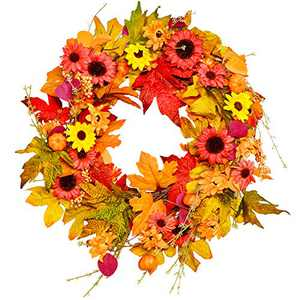 Fall Wreath, BESTTRENDY 20Inch Artificial Fall Wreath for Front Door Fall Wreath Decor Autumn Harvest Wreath with Pumpkins,Maple Leaf for Halloween /Easter/Thanksgiving Day Indoor /Outdoor /Home Decor