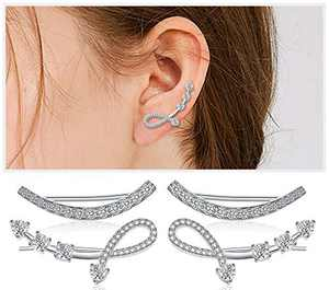 Sterling Silver Cubic Zirconia Ear Climber - Hypoallergenic Ear Cuffs Crystal Ear Crawler Cuff Earrings Set for Women Girls