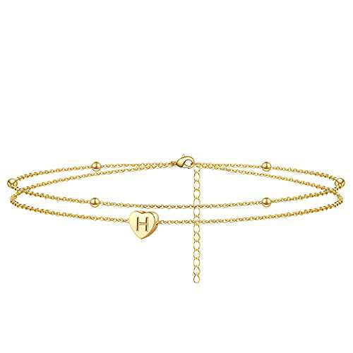 Initial Heart Anklet Bracelet Layered Heart Letter H Bead Chain Anklet for Women 14K Real Gold Plated Beach Jewelry