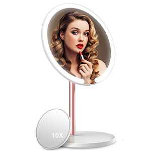 Makeup Mirror,Vanity Mirror with Light,3 Color Lighting Modes,Touch Screen,Dimmable Mirror with 10X Magnification Mirror,360° Adjustable Rotation Portable Cosmetic Mirror