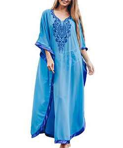 SNOWSTAR Chiffon Beach Cover ups for Women Blue Caftan Loungewear