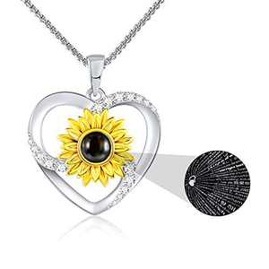 SNZM Mother's Day Gifts Necklace for Women Sunflower I Love You Necklace 100 Languages Anniversary Jewelry Birthday Gift for Mom Wife Women Her