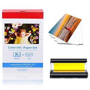 """KCMYTONER Compatible for Canon KP-36IN KP-36IP (7737A001) 1 Color Ink Cartridge & 36 Sheets Paper Set 4""""x6"""" for Selphy CP1300 CP1200 CP910 CP900 CP760 CP770 CP780 CP800 Wireless Photo Printer,1 Pack"""