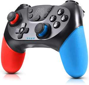 Gezimetie Wireless Controller for N-Switch, Gamepad Joypad for N-Switch Console and Supports Gyro Axis and Dual Vibration(Red and Blue)