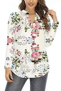 Beauhuty Women's Blouse Long Sleeve Floral Print Tunic V Neck Comfy Casual Cute Shirts Soft Tops (Long-Flower White,M)