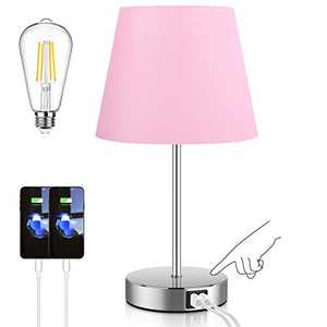 Touch Control Table Lamp with 2 USB Ports and AC Power Outlet, 3 Way Dimmable Modern Bedside Nightstand Lamp with Pink Fabric Shade & Satin Nickle Base for Bedroom Living Room Office LED Bulb Included