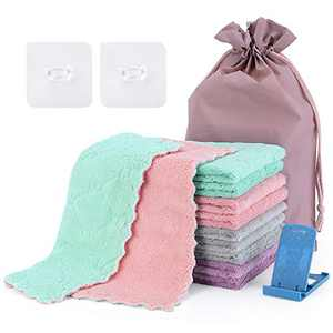 Piececool 10Pack Microfiber Cleaning Cloth Kitchen Towels Double Sided Cleaning Cloth Microfiber, Reusable, Lint Free, Degreasing Cleaning Supplies for Cars Cleaning Kitchen Tableware