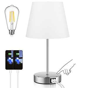 Touch Control Table Lamp with 2 USB Ports and AC Power Outlet 3 Way Dimmable Modern Bedside Nightstand Lamp with White Fabric Shade & Satin Nickle Base for Bedroom Living Room Office LED Bulb Included