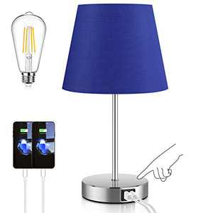 3 Way Dimmable Touch Control Table Lamp with 2 USB Ports and AC Power Outlet Modern Bedside Nightstand Lamp with Navy Blue Fabric Shade for Bedroom Living Room Office LED Bulb Included
