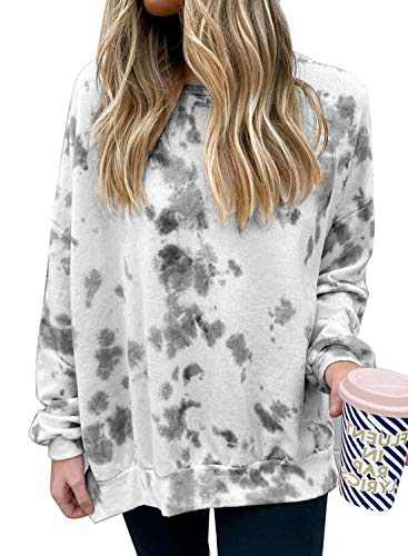 EVALESS Women Crewneck Tie Dye Long Sleeve Sweatshirts Pullover Tops(S-XXL)