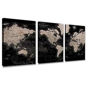 Vintage World Map Canvas Wall Art Retro Map of The World Canvas Prints Framed and Stretched for Living Room Ready to Hang 12''x16'' 3 Piece