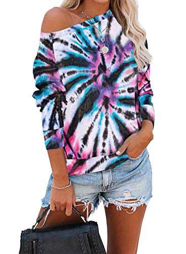 Zecilbo Womens Tie Dye Fashion Fall Cute Sweatshirts Loose Pullover Casual Long Sleeve Blouses White Small