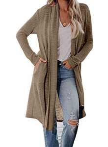 ROSKIKI Womens Casual Long Sleeve Open Front Knit Cardigan with Pocket Sweater Outwear