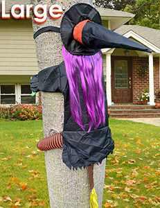 Bristory Large Crashing Witch, Funny Backwards Witch for Tree Ornaments, Quality Made Halloween Decorations Outdoor Indoor
