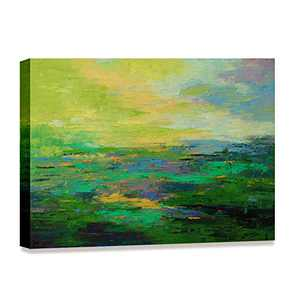 Kaupuar Abstract Canvas Wall Art Green Landscape Abstract Painting Modern Artwork Hand Print Picture for Home Decoration(16'' x 12'' x 1 Panel)