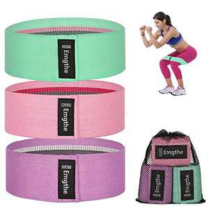 Emgthe Resistance Bands for Legs and Butt, Fabirc Workout Bands for Women Men, Non-Slip Elastic Exercise Booty Bands, Wide Sports Fitness Band 3 Set for Squat Glute Hip Training Green,Pink,Purple