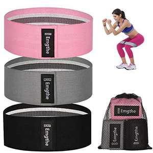 Emgthe Resistance Bands for Legs and Butt, Fabirc Workout Bands for Women Men, Non-Slip Elastic Exercise Booty Bands, Wide Sports Fitness Band 3 Set for Squat Glute Hip Training Pink,Grey,Black