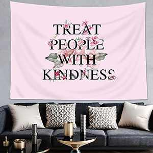 AMBZEK Harry Styles Tapestry Treat People with Kindness Quote Blush Pink Inspirational GoodVibesWall Decor Boutique 59Hx78W Retro Positivity Sayings Art Wall Hanging Bedroom Living Room Dorm Decor