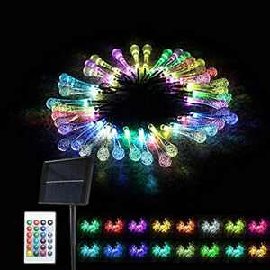 MagicLux Tech Solar String Light, 40 LED String Lights Water Drop 26.25ft/8m 16 Colour Changing Fairy Lights Waterproof 5 Modes with Remote & Timer for Bedroom Christmas Party Garden Decorations