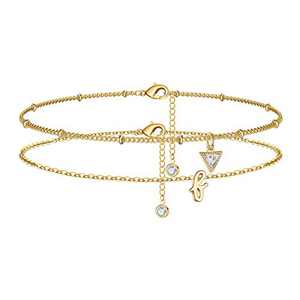 Yesteel F Initial Ankle Bracelets for Women, Gold Anklets Satellite CZ Charm Ankle Bracelets for Women, 14K Gold Plated Layered Foot Chain Anklets for Teen Girls Cute Summer Anklets