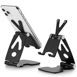 ZOMCHAIN Cell Phone Stand, Foldable Phone Stand Adjustable Desktop Phone Holder Dock Compatible All Smart Phones Black