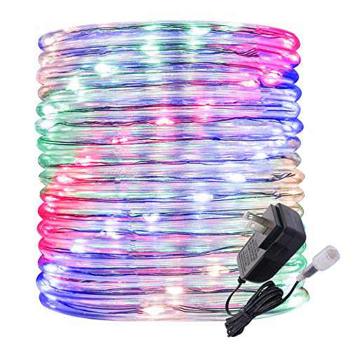 Rope Lights Outdoor, 16ft Multicolor Colored LED Mini Light Strip Lights, Connectable and Waterproof 12v, Flexible with Plug for Tube Light Rope, for Home Garden Camping Pario Indoors Use