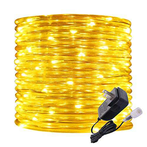 Rope Lights Outdoor, 16ft Amber LED Mini Light Strip Lights, Connectable and Waterproof 12v, Flexible with with Plug for Tube Light, for Home Garden Camping Party Pario Indoors Use