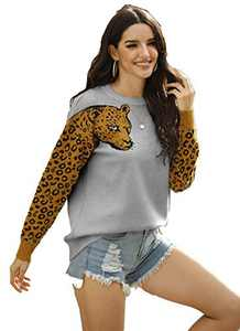 Womens Oversized Leopard Sweater Pullover Crew Neck Long Sleeve Knitwear Tops Grey