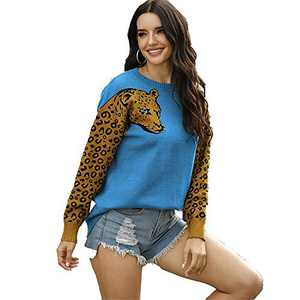 Womens Oversized Leopard Sweater Pullover Crew Neck Long Sleeve Knitwear Tops Blue