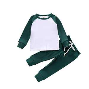 2PCS Toddler Baby Boys Girls Ribbed Knitted Color Block Long Sleeve Top Drawstring Pants Set Fall Winter Outfit (A-Dark Green, 2-3T)