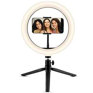 """Selfie Ring Light 10"""" with Tripod Stand & Phone Holder, Bluetooth Remote Shutter for Live Stream/YouTube Video/TikTok/Makeup Shooting with 3 Light Modes, Compatible with iPhone/Android"""