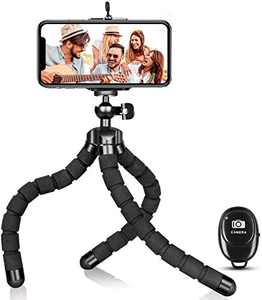 Phone Tripod, Flexible Tripod and Portable Adjustable Tripod with Wireless Remote, Compatible with iPhone/Android Samsung, Mini Camera Tripod Stand for Cell Phone DSLR GoPro