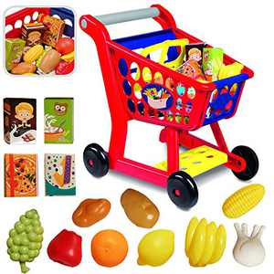 Educational Toy Shopping Cart - Supermarket Playset with Included Grocery Cart Toy and Pretend Food Accessories - Perfect for Kids, Children, Toddlers Learning Development Kids Shopping Cart
