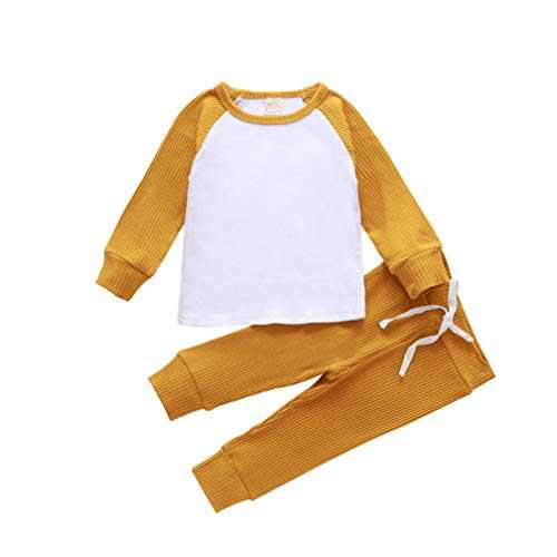 2PCS Toddler Baby Boys Girls Ribbed Knitted Color Block Long Sleeve Top Drawstring Pants Set Fall Winter Outfit (A-Yellow, 3-4T)