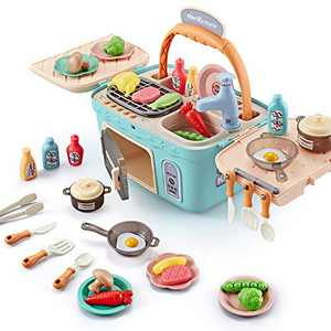Kids Kitchen Playset Toys Pretend Play Chef Cooking Kitchen Set, Portable Basket Toy with Musics,Lights,Spray,Play Foods,Sink,Pretend Play Oven kitchen Toys,Toddler kitchen Set Toys for Girls Boys