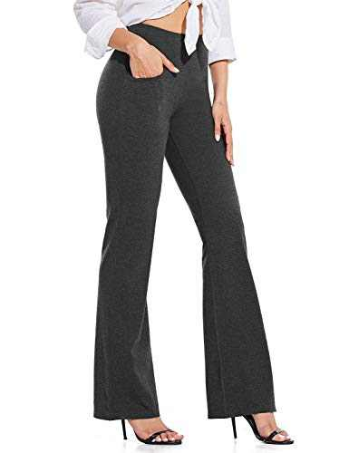 "BALEAF 34"" Bootcut Yoga Pants for Tall Women Pocketed High Waist Flare Bootleg Work Long Pants Charcoal L"