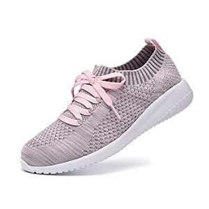 JIUMUJIPU Women's Walking Sneaker Slip-on Running Shoes - Black,White,Gray,Lightweight Mesh-Comfortable Tennis Shoe (Gray/pink/004-10, 6)