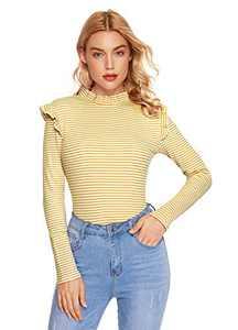 Romwe Women's Slim Fit Frilled Ruffles Shoulder Long Sleeve Blouse Top Tee Yellow L
