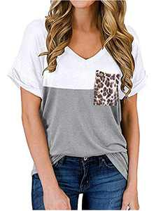 RULINJU Women's Short Sleeve T Shirts V-Neck Tunic Tops Loose Casual Tees Front Leopard Pocket (Small, White)