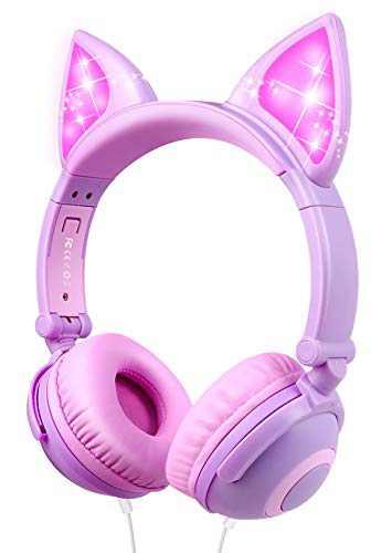 Kids Headphones Cat Ear On Ear Headphones Cute Kids Headset for Girls, Boys, Teen, Adult, Cosplay/Dance/Party/Birthday Gifts (Purple)