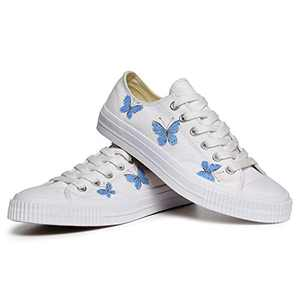 VILIYAWomen'sHandPaintedCanvasShoes Butterfly Painted Canvas Flats Sneakers for Women(White 5)